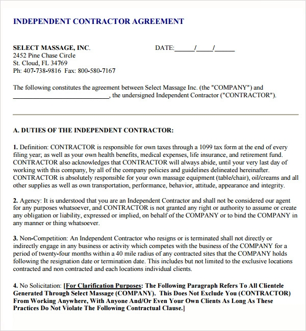 Exceptional image throughout free printable subcontractor agreement