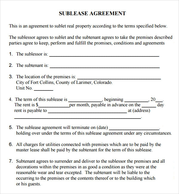 Sublease Agreement 16 Download Free Documents in PDF Word – Sublet Contract Template