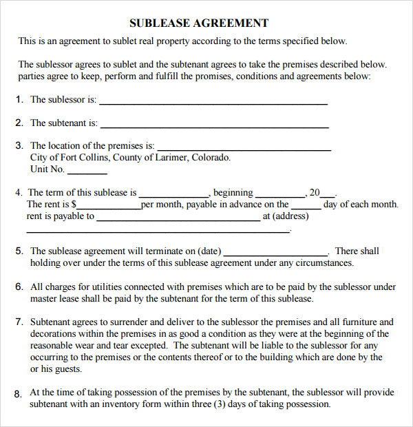 8 useful sample leasing agreement templates sample templates for Subletting lease agreement template