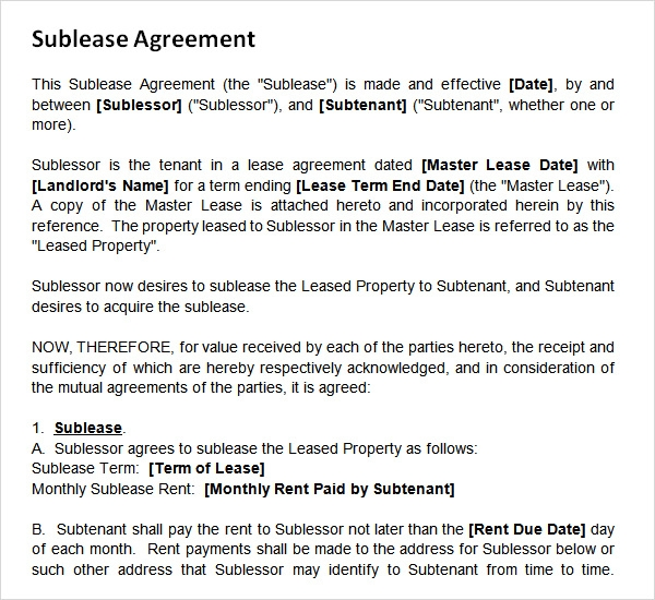 Sublease Agreement   Download Free Documents In Pdf Word