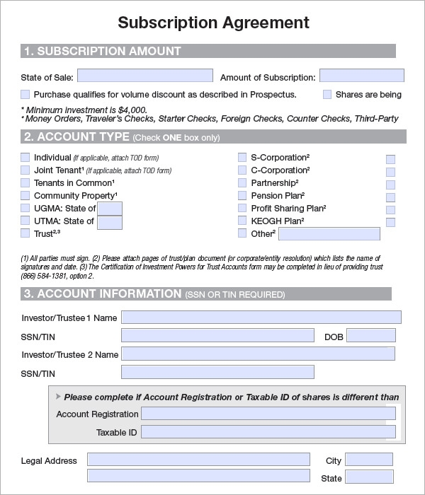 Sample Subscription Agreements Sample Templates - Contracts and agreements templates