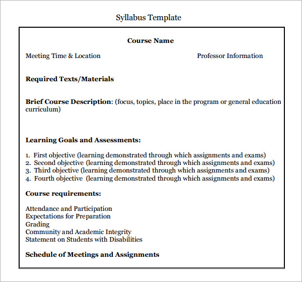 6 syllabus templates pdf doc for Create a syllabus template