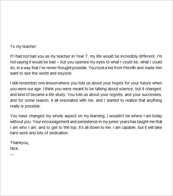 Thank You Letter To Teacher Sample Templates