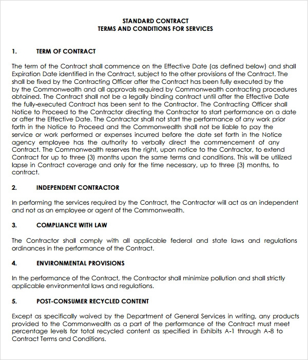 7 service agreement templates sample templates for Terms and conditions of service template