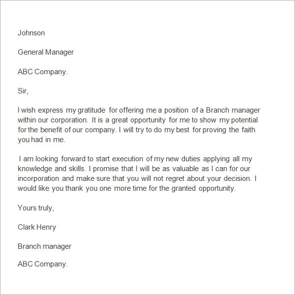 Thank You Letter To Manager