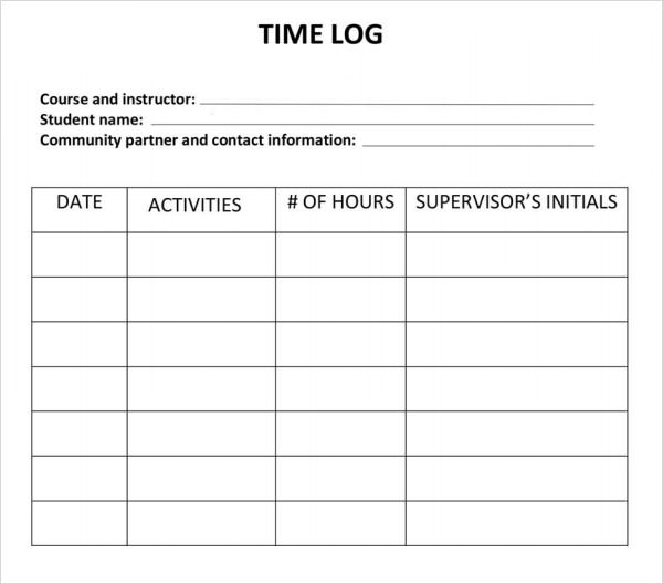 time log template