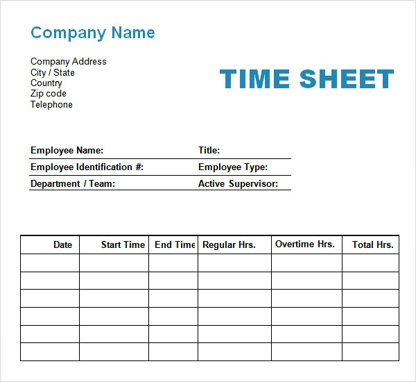 Employee Timesheet Free Weekly Employee Time Sheet Template Example