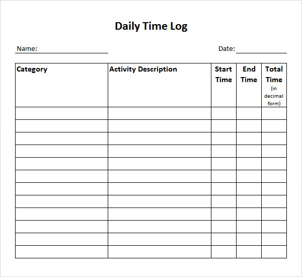 Time Log Template - 14+ Download Documents in PDF , Word