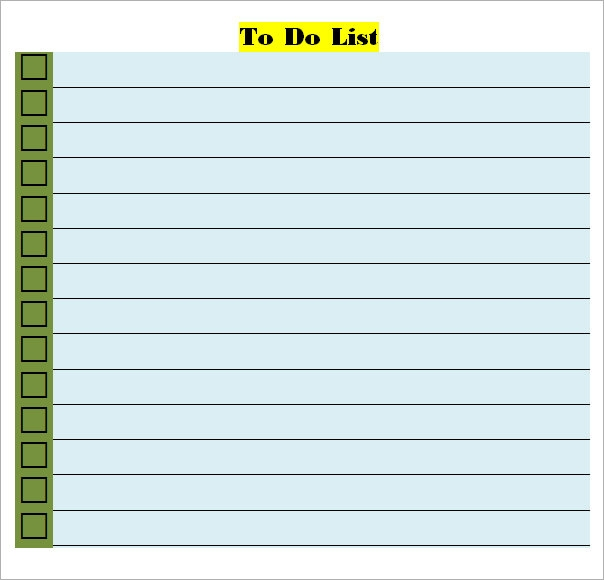 To Do List Template Word  List Template Word