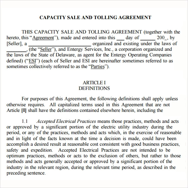 Free 5 Sample Free Tolling Agreement Templates In Pdf Doc