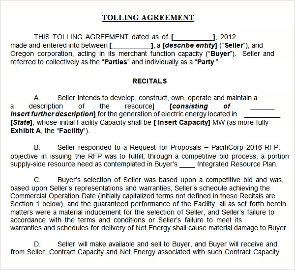 Tolling Agreement 7 Free Pdf Doc Download