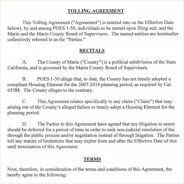 Tolling Agreement - 5+ Free Pdf , Doc Download