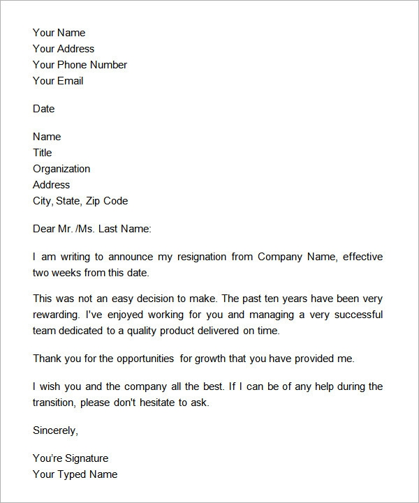 Official 2 Week Notice Letter from images.sampletemplates.com