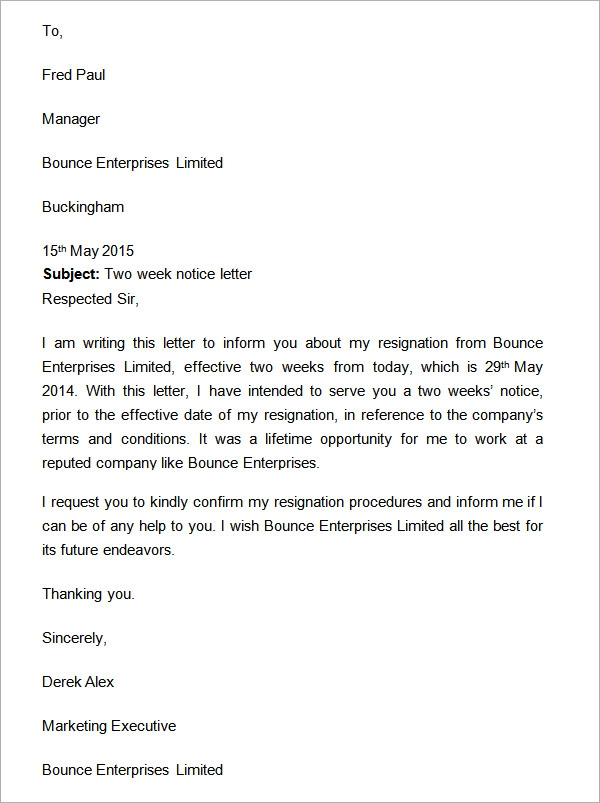 "two weeks notice letter"" template from a manager who is giving ..."