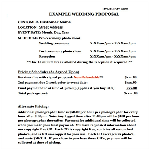 Event Proposal Letters Wedding Proposal Examples Wedding Proposal
