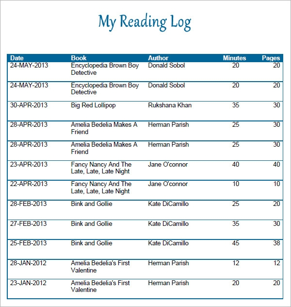 Reading Log Template 9 Download Free Pdf Doc – Reading Log Template