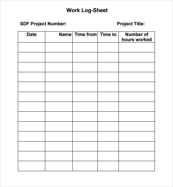 Work Log Template 5 Free PDF Doc Download – Time Log Template