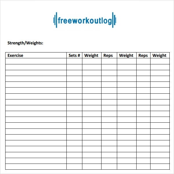 weekly fitness plan template - 9 workout log templates sample templates