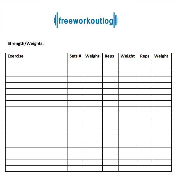 Workout log template pdf maxwellsz