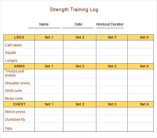 weight training log template - 9 workout log templates sample templates