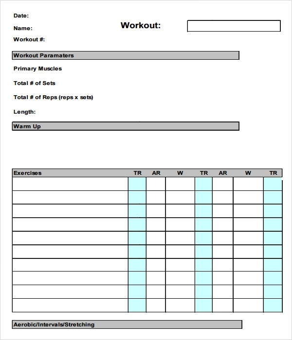 Sample workout log template 8 download in word pdf psd for Weight training log template