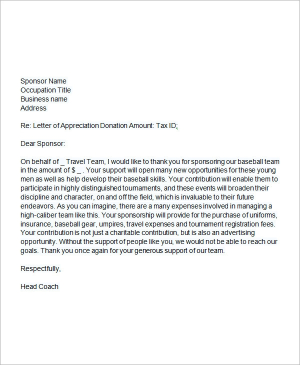 Youth Football Sponsor Letter Samples – Event Sponsorship Letter Example