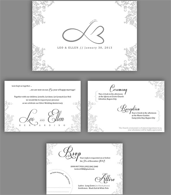 silver wedding anniversary invitations templates - 28 images ...