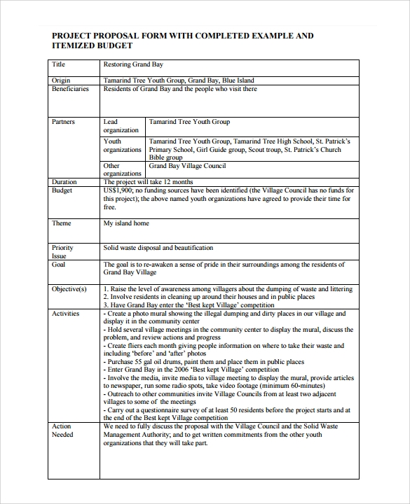 Proposal Template : Project Proposal Template Pdf Project Proposal