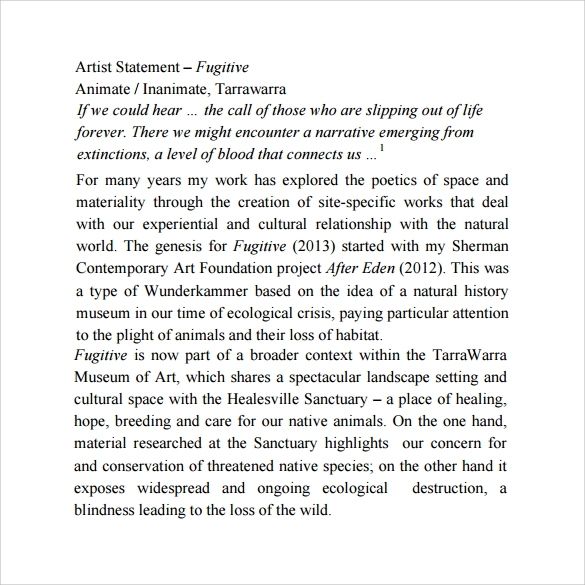 fugitive artist statement template