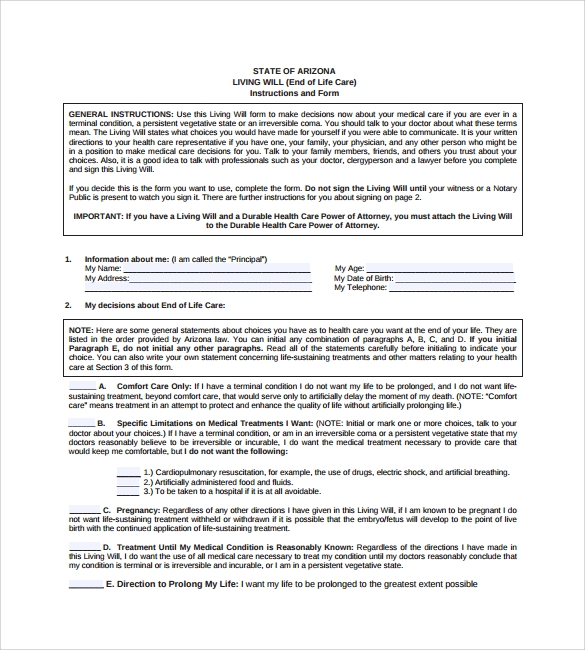 Printable living will nc archives for Template for wills for free