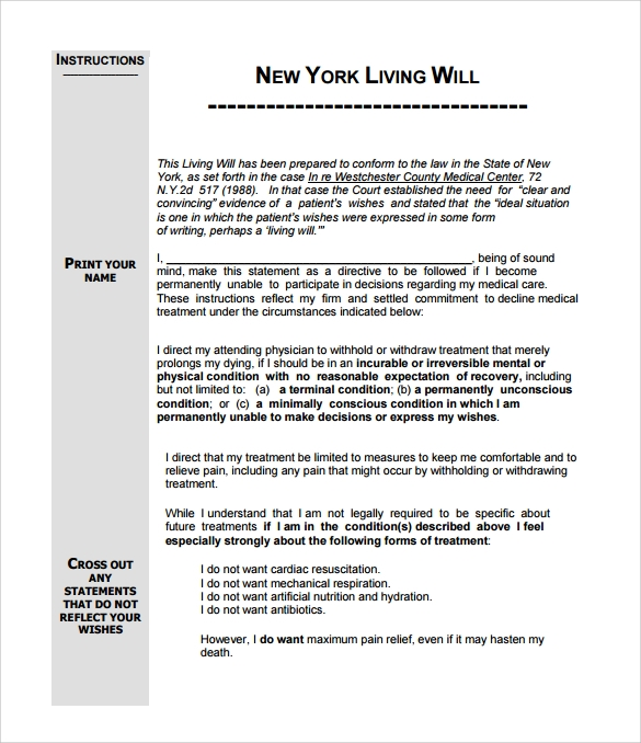 9 sample living wills pdf sample templates