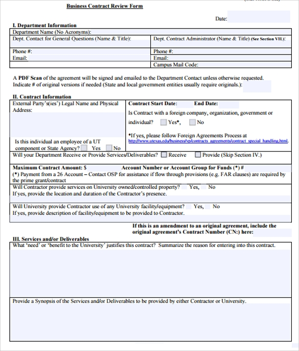 Business Contract Review Form Template  Free Business Contract