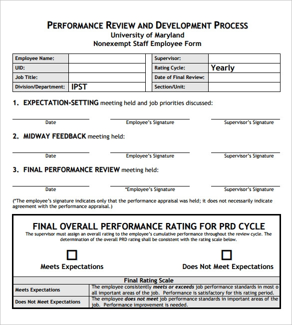 8 employee review templates pdf word pages sample for Quarterly employee review template
