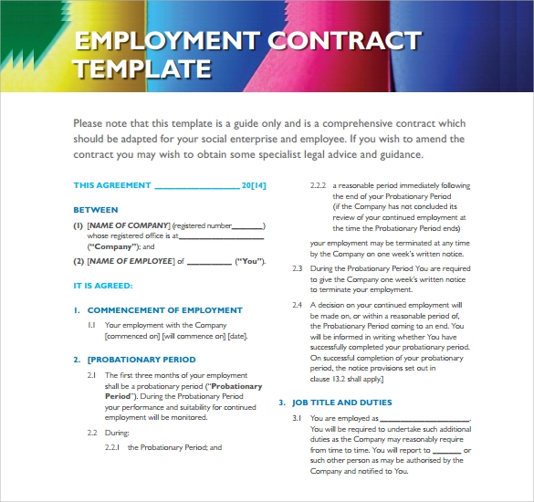 Standard Employment Contract  Free Employment Contract Form