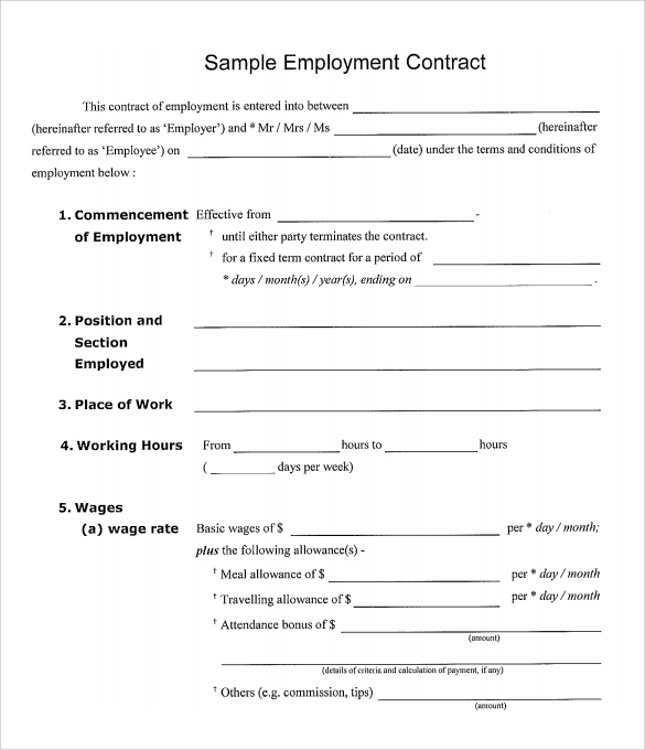 15 useful sample employment contract templates to download for Basic contract of employment template