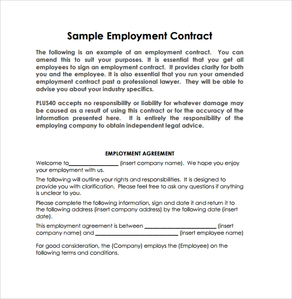 Employment Contract 9 Download Documents in PDF DOC – Sample Employment