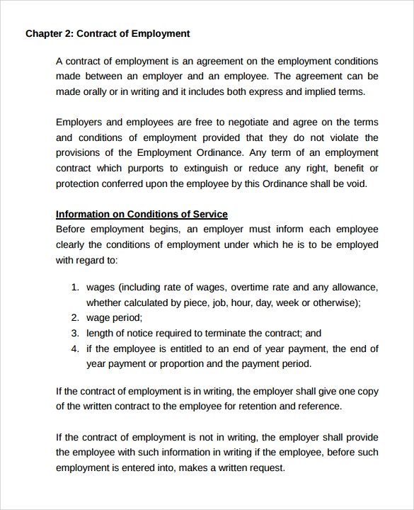 Casual Employment Contract  Employment Contract Free Template