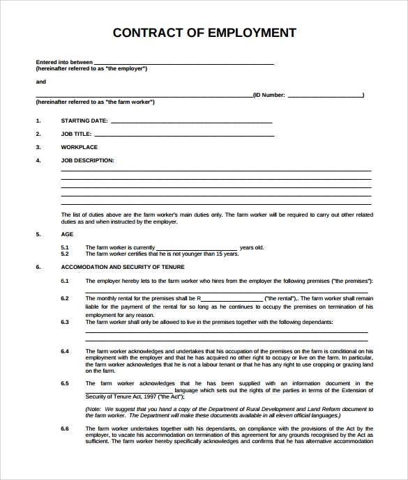 Employee Contract Template Free Ebook Database