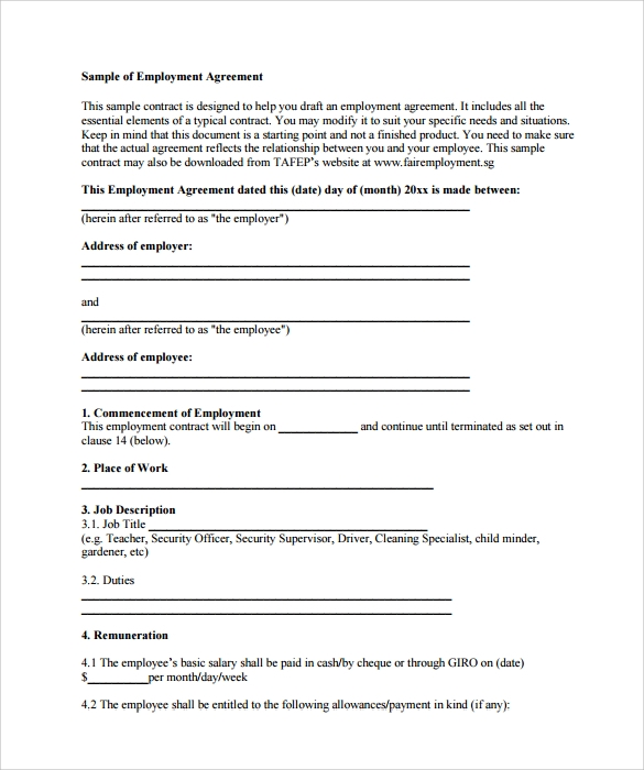 employment contract pdf