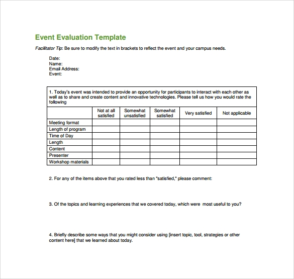 Event evaluation form questions