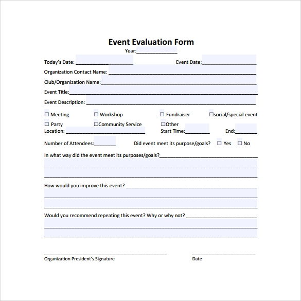 Event Evaluation Sample   Documents In  Word Excel