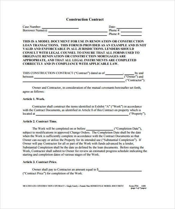 Construction Contract 9 Download Documents in PDF – Remodeling Contract Template Sample