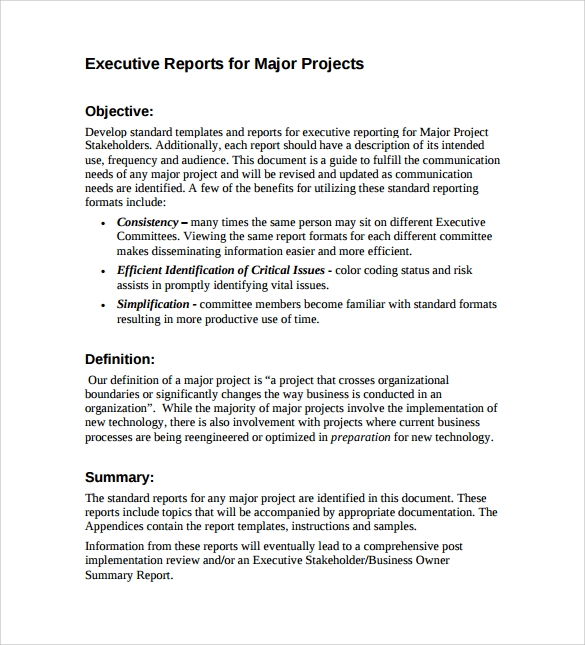 executive reports for major projects pdf free download