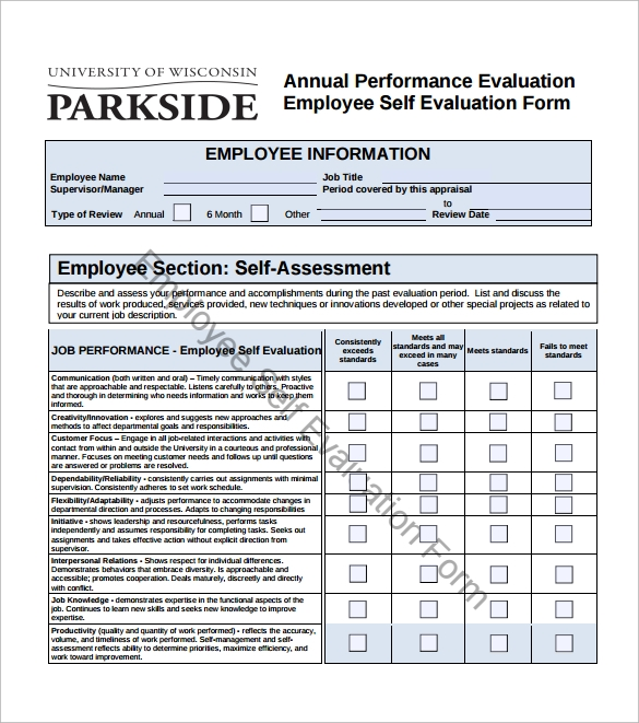Sample Employee Self Evaluation Form 14 Free Documents in Word PDF – Employee Performance Evaluation Form Free Download