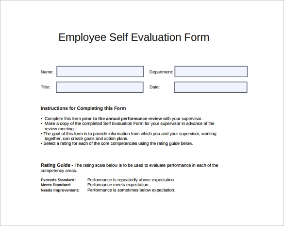 self evaluation template for employees - sample employee self evaluation form 16 free documents