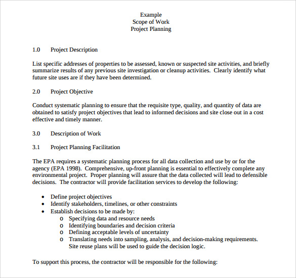 23 sample scope of work templates to download sample for Scope of services agreement template