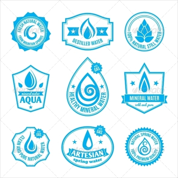 vector eps water bottle label template download