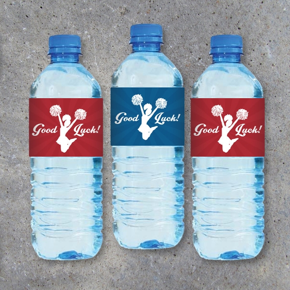 beautiful cheerleading water bottle label template