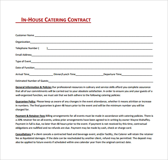 in house catering contract free download in pdf1