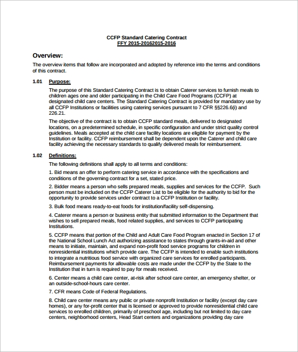 Sample Catering Contract Template - Standard service contract template